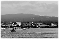 Monterey harbor, evening. Monterey, California, USA ( black and white)