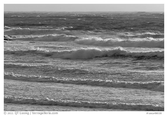 Ocean waves. Carmel-by-the-Sea, California, USA (black and white)