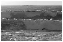 Big waves at sunset. Carmel-by-the-Sea, California, USA (black and white)