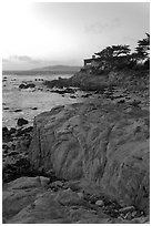 Oceanfront house sitting on bluff. Carmel-by-the-Sea, California, USA (black and white)
