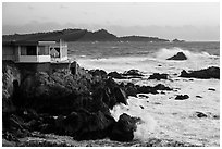 Butterfly house and waves. Carmel-by-the-Sea, California, USA (black and white)