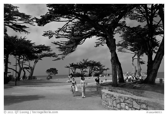 black and white photography lovers. Lovers Point Park. Pacific Grove, California, USA (lack and white)