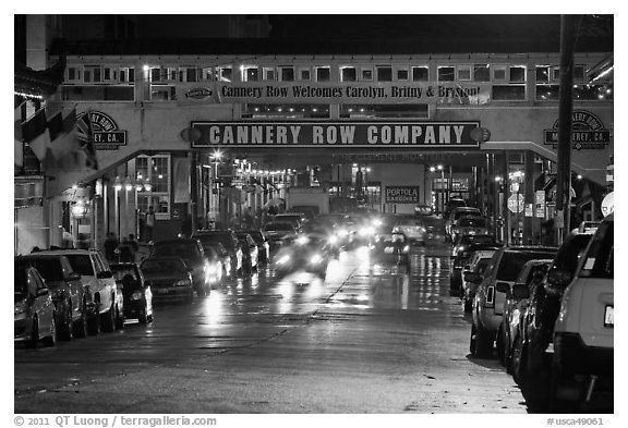 Cannery Row lights at night. Monterey, California, USA (black and white)
