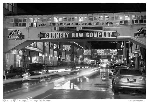 Cannery Row on a rainy night. Monterey, California, USA (black and white)