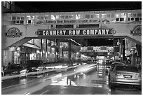 Cannery Row on a rainy night. Monterey, California, USA ( black and white)