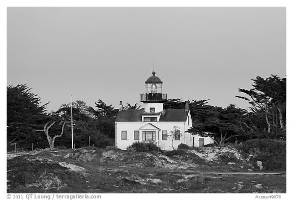 Point Pinos Lighthouse, oldest continuously-operating on the West Coast. Pacific Grove, California, USA (black and white)