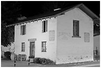 Casa del Oro store house at night. Monterey, California, USA ( black and white)