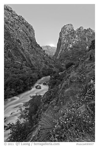 Steep gorge, South Fork of the Kings River, dusk, Giant Sequoia National Monument near Kings Canyon National Park. California, USA (black and white)
