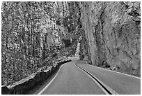 Road through vertical canyon walls, Giant Sequoia National Monument near Kings Canyon National Park. California, USA ( black and white)