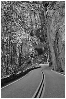 Roadway meandering through vertical gorge, Giant Sequoia National Monument near Kings Canyon National Park. California, USA (black and white)