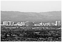 City skyline and Santa Cruz Mountain, early morning. San Jose, California, USA ( black and white)
