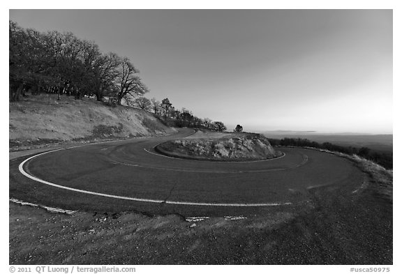Hairpin curve, Mt Hamilton road. San Jose, California, USA (black and white)