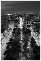 Cesar Chavez park from above at night. San Jose, California, USA ( black and white)