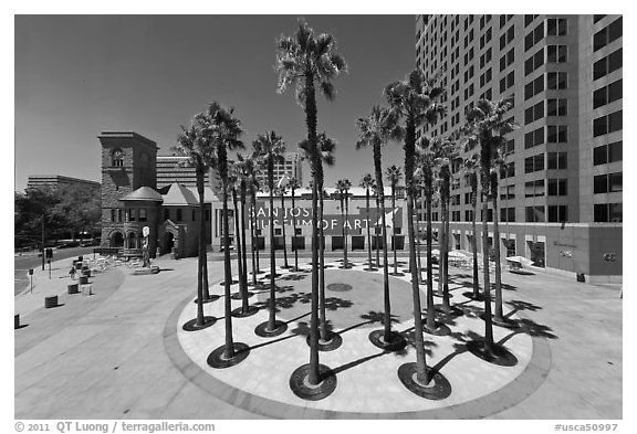 Circle of palm trees and San Jose Museum of Art. San Jose, California, USA (black and white)