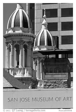 San Jose Museum of Art and St Joseph Cathedral towers. San Jose, California, USA (black and white)