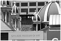 San Jose Museum of Art and St Joseph Basilica roof. San Jose, California, USA (black and white)