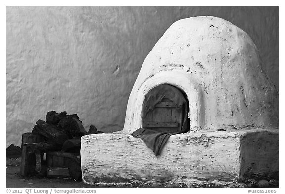 Oven outside Peralta Adobe. San Jose, California, USA (black and white)