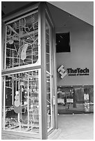 Two-story Rube Goldberg machine, Tech Museum. San Jose, California, USA ( black and white)