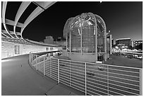 Rotunda at night, San Jose City Hall. San Jose, California, USA (black and white)
