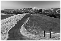 Path on crest of Evergreen Hills. San Jose, California, USA ( black and white)