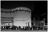 Line outside Eastridge shopping mall. San Jose, California, USA ( black and white)