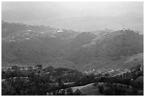 Hills and ridges at sunset. San Jose, California, USA ( black and white)