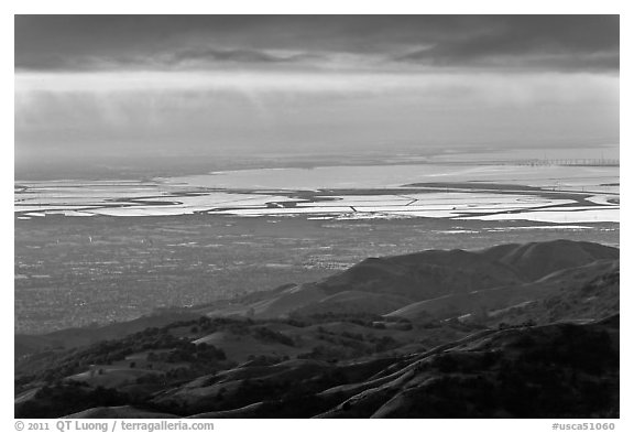 South Bay seen from Mount Hamilton at sunset. San Jose, California, USA (black and white)