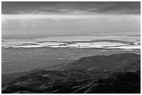 South Bay seen from Mount Hamilton at sunset. San Jose, California, USA ( black and white)