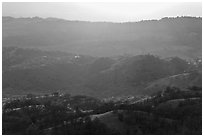 Hills below Mount Hamilton at sunset. San Jose, California, USA ( black and white)