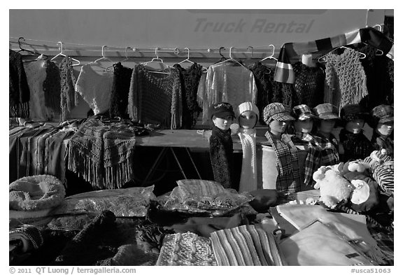 Apparel for sale, San Jose Flee Market. San Jose, California, USA (black and white)