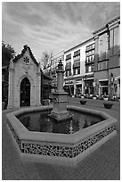 Fountain. Santana Row, San Jose, California, USA ( black and white)