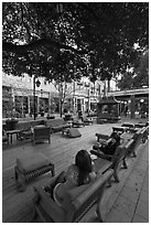 Sitting area with comfy chairs. Santana Row, San Jose, California, USA (black and white)