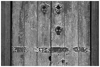 Weathered door detail. Santana Row, San Jose, California, USA ( black and white)
