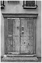 Weathered door. Santana Row, San Jose, California, USA (black and white)