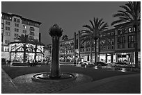 Park at dusk. Santana Row, San Jose, California, USA (black and white)