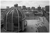 Rotunda and esplanade from City Hall offices. San Jose, California, USA ( black and white)