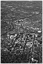 Aerial View of downtown. San Jose, California, USA ( black and white)