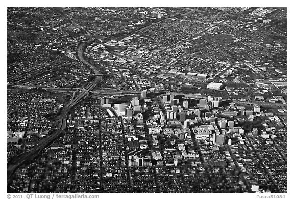 Aerial View of downtown and highways. San Jose, California, USA (black and white)