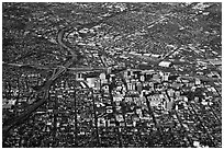 Aerial View of downtown and highways. San Jose, California, USA ( black and white)