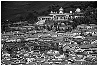Residences and Sikh temple. San Jose, California, USA ( black and white)
