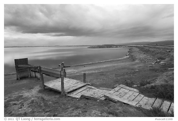 Boardwalk and Bay shoreline, Alviso. San Jose, California, USA (black and white)