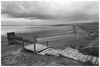 Boardwalk and Bay shoreline, Alviso. San Jose, California, USA ( black and white)
