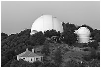 Lick observatory domes. San Jose, California, USA (black and white)