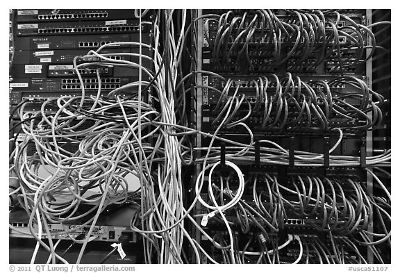 black and white picture photo unorganized server wires