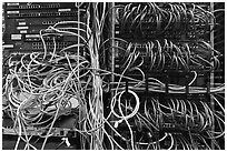 Unorganized server wires. Menlo Park,  California, USA (black and white)