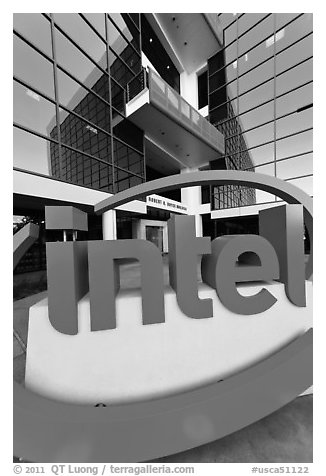 Intel sign and Robert Noyce building. Santa Clara,  California, USA