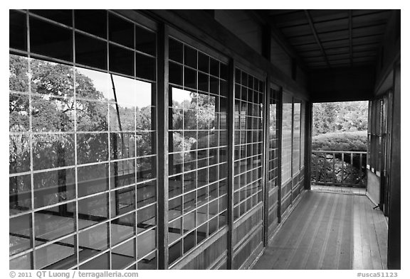 Reflection in pavillion, Hakone Estate. Saragota,  California, USA (black and white)