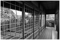 Reflection in pavillion, Hakone Estate. Saragota,  California, USA ( black and white)