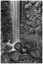 Waterfall and round rocks, Hakone gardens. Saragota,  California, USA ( black and white)