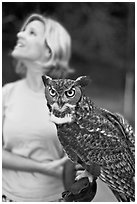 Owl and handler, Alum Rock Park. San Jose, California, USA ( black and white)